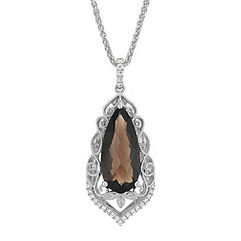 Vintage Pear Shaped Smoky Quartz and Round Diamond Pendant (24 in.)