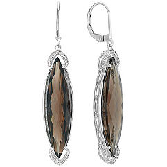 Marquise Smoky Quartz and Diamond Leverback Earrings