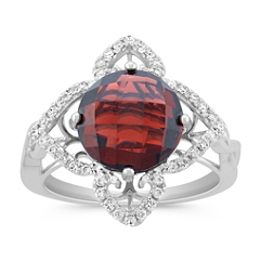 Round Garnet and Diamond Petal Ring