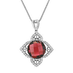 Round Red Garnet and Diamond Square Petal Pendant (22 in.)