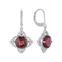 Round Garnet and Round Diamond Petal Leverback Earrings