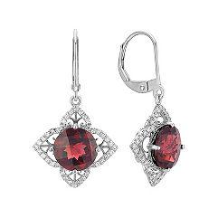 Round Garnet and Round Diamond Petal Leverback Earrings