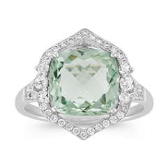 Vintage Cushion Cut Green Amethyst and Round Diamond Ring