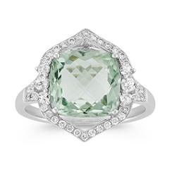 Vintage Cushion Cut Green Amethyst and Round Diamond Ring