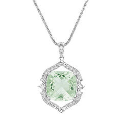 Vintage Cushion Cut Green Amethyst and Round Diamond Pendant (22 in.)