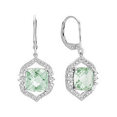 Vintage Cushion Cut Green Amethyst and Round Diamond Leverback Earrings