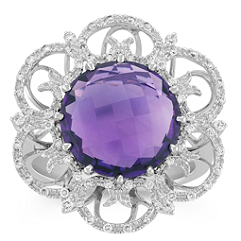 Round Amethyst and Diamond Floral Ring