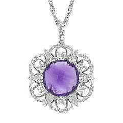 Amethyst and Round Diamond Floral Pendant