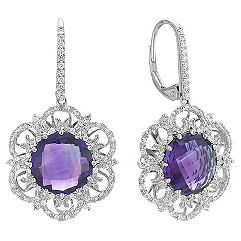 Amethyst and Round Diamond Floral Earrings