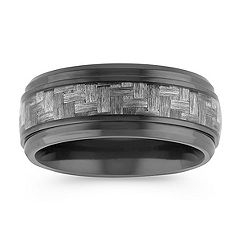 Weave Pattern Black Titanium Comfort Fit Ring (9mm)