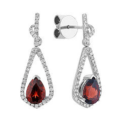Pear Shaped Garnet and Round Diamond Earrings