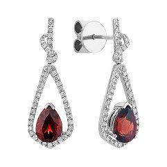 Pear Shaped Garnet and Round Diamond Earrings