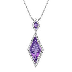 Kite Shaped Purple Amethyst and Round Diamond Pendant (18 in.)