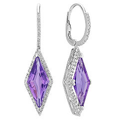 Kite Shaped Purple Amethyst and Round Diamond Leverback Earrings