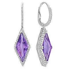 Kite Shaped Purple Amethyst and Round Diamond Leverback Earrings