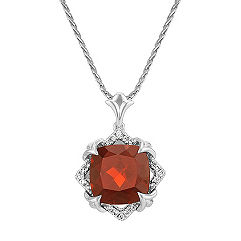 Cushion Cut Garnet and Round Diamond Pendant in 14k White Gold