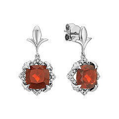 Cushion Cut Garnet and Round Diamond Earrings in 14k White Gold
