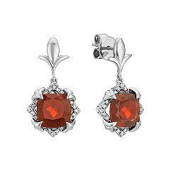 Cushion Cut Garnet and Round Diamond Earrings in 14k White Gold