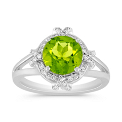 Peridot and Round Diamond Halo Ring in 14k White Gold