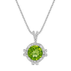 Peridot and Round Diamond Halo Pendant in White Gold (18 in.)
