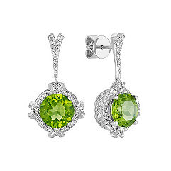 Peridot and Round Diamond Halo Earrings in 14k White Gold
