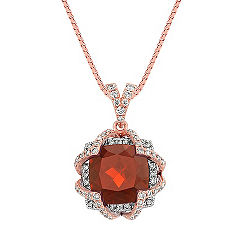 Cushion Cut Garnet and Round Diamond Two-Tone Gold Pendant (18 in.)