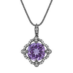 Round Amethyst Pendant with Black Rhodium (18 in.)