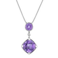 Cushion Cut and Round Purple Amethyst and Round Diamond Drop Pendant in Sterling Silver (18 in.)