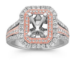 Round Diamond Double Halo Two-Tone Engagement Ring