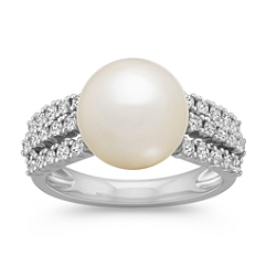 11mm Cultured South Sea Pearl and Triple Row Diamond Ring