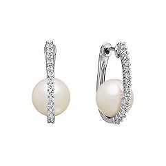 9mm Cultured South Sea Pearl and Single Lined Diamond Hoop Earrings