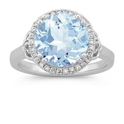 Round Aquamarine and Diamond Halo Ring