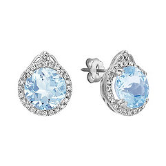 Round Aquamarine and Diamond Halo Earrings
