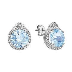 Round Aquamarine and Diamond Halo Earrings