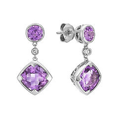Cushion Cut and Round Purple Amethyst and Round Diamond Drop Earrings