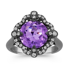 Amethyst and Round Diamond Ring with Black Rhodium