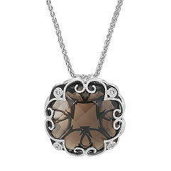 Vintage Cushion Cut Smoky Quartz and Round Diamond Pendant in Sterling Silver (24 in.)