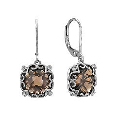 Vintage Cushion Cut Smoky Quartz and Round Diamond Earrings