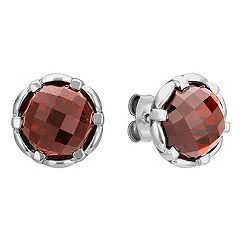 Round Garnet and Sterling Silver Earrings