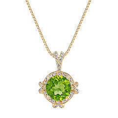 Round Peridot and Diamond Halo Pendant in Yellow Gold (18 in.)