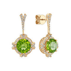 Round Peridot and Diamond Halo Earrings in 14k Yellow Gold
