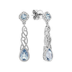 Pear Shaped and Cushion Cut Aquamarine and Round Diamond Earrings in Sterling Silver