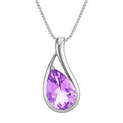 Pear Shaped Amethyst Pendant (18 in.)