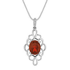 Oval Garnet and Round Diamond Trellis Pendant (18 in.)