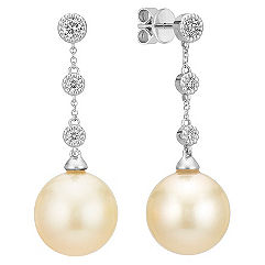 12mm Cultured Golden South Sea Pearl and Round Diamond Earrings