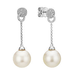 9mm Cultured South Sea Pearl and Round Diamond Dangle Earrings
