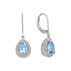 Pear Shaped Aquamarine and Round Diamond Earrings