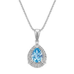 Pear Shaped Aquamarine and Round Diamond Pendant (18 in.)