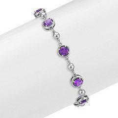 Round Amethyst Bracelet in Sterling Silver (7.5 in.)