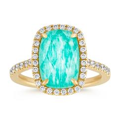 Green Amazonite and White Topaz Duet Diamond Ring